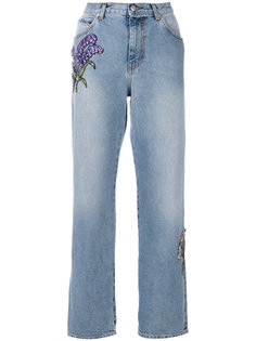 джинсы прямого кроя с цветочной вышивкой Alexander McQueen