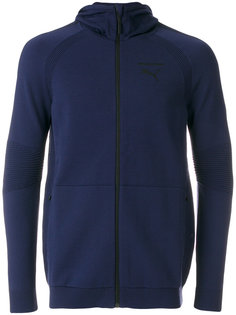 ribbed detail zipped hoodie Puma