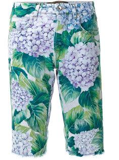 джинсовые шорты с принтом цветков гортензии Dolce & Gabbana