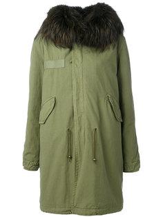пальто с капюшоном и мехом енота  Mr & Mrs Italy