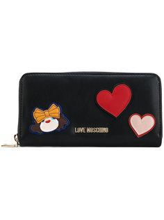 кошелек на молнии с сердцами Love Moschino