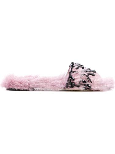 сандалии с меховой отделкой Alberta Ferretti