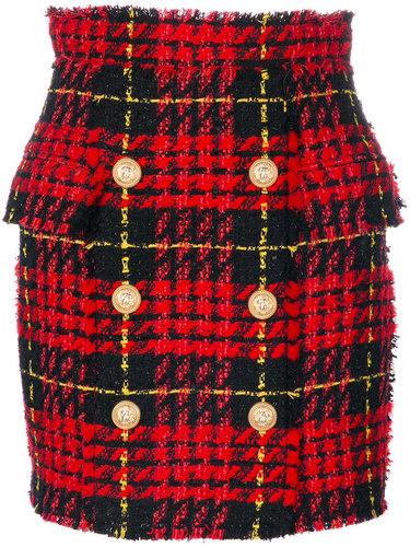 твидовая юбка с принтом тартан  Balmain