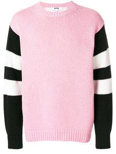 свитер с полосатыми рукавами MSGM