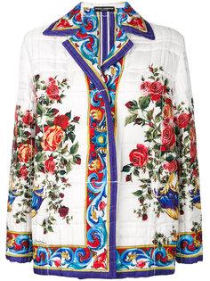 стеганая куртка с принтом Majolica Dolce & Gabbana