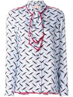 блузка с завязками и абстрактным принтом Marni