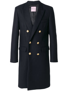 двубортное пальто с вышивкой на рукавах Palm Angels