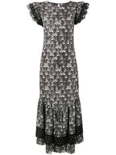платье-макси с оборками в горох De La Vali