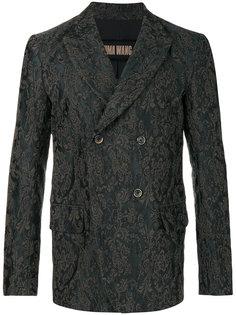 двубортное пальто с узором Дамаск Uma Wang
