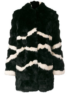 пальто с капюшоном и полосками  Blugirl