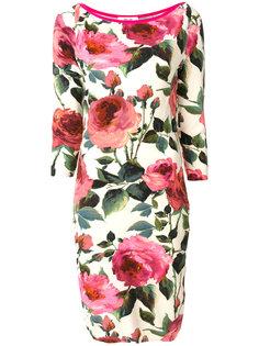 приталенное платье с принтом роз  Blugirl