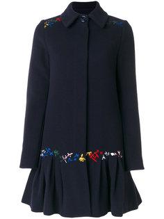 расклешенное пальто с вышивкой Love Moschino