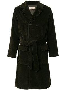 двубортное пальто с поясом Maison Flaneur