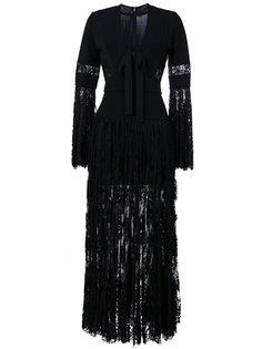 макси платье с кружевными вставками Elie Saab