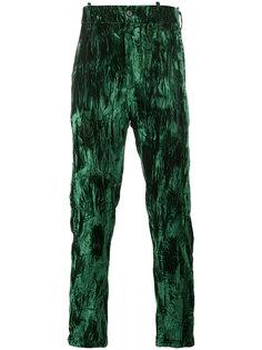 бархатные прямые брюки с эффектом помятости Ann Demeulemeester