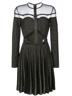 платье в рубчик с сетчатыми вставками  Elie Saab
