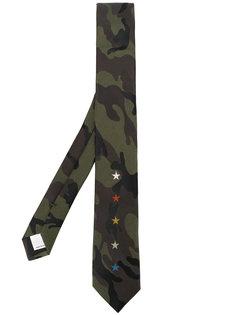 галстук со звездами и камуфляжным принтом Valentino