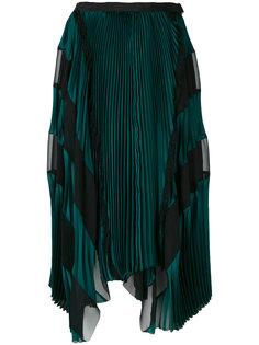 асимметричная плиссированная юбка Sacai