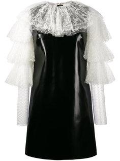 платье-мини из кружева и искусственной кожи Philosophy Di Lorenzo Serafini