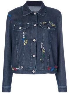 джинсовая куртка с вышивкой Love Moschino