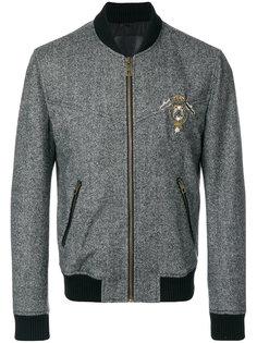 твидовая куртка-бомбер с нашивкой Dolce & Gabbana