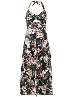платье с вырезом-петлей халтер и цветочным принтом Zimmermann