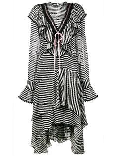 полосатое платье с асимметричным подолом и оборками Preen By Thornton Bregazzi