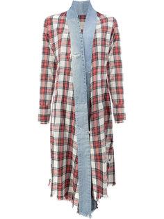 винтажное клетчатое удлиненное кимоно Greg Lauren