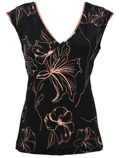 топ с цветочным принтом и V-образным вырезом  Diane Von Furstenberg