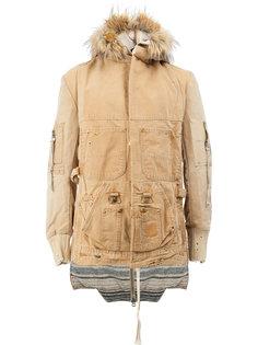 пальто с капюшоном с меховой оторочкой Greg Lauren