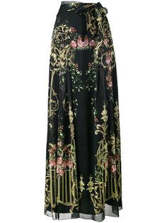 удлиненная юбка с запахом и цветочным принтом Alberta Ferretti