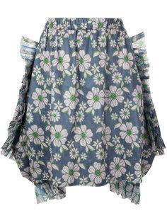юбка Tyvec с цветочной вышивкой Comme Des Garçons