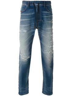зауженные джинсы с потертой отделкой Diesel