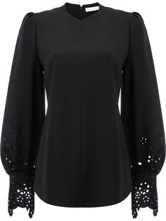 блузка с короткими рукавами резной отделкой  Chloé