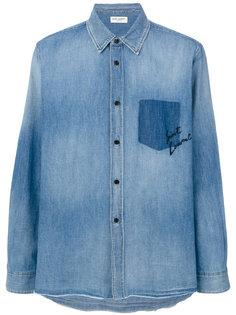 рубашка с затемненным пятном от кармана Saint Laurent