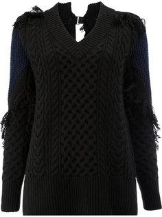 свитер с узором косы и бахромой  Sacai