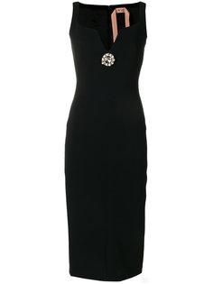 приталенное платье с отделкой  Nº21