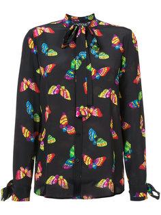 блузка с бантом и принтом бабочек Boutique Moschino