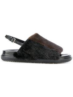 меховые сандалии Fussbett Marni