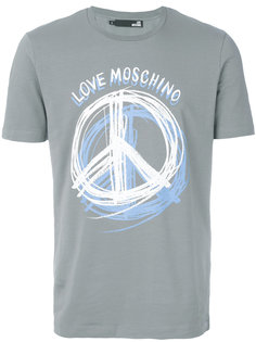 футболка с принтом пацифистского знака Love Moschino