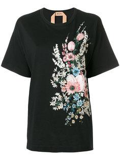 футболка с цветочной вышивкой Nº21
