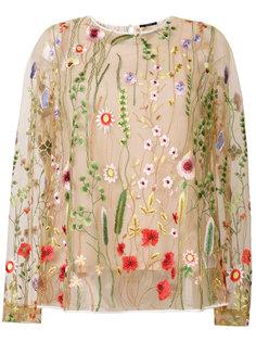 полупрозрачная блузка с цветочной вышивкой  Odeeh