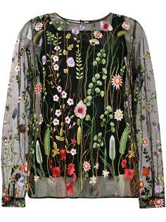 прозрачная блузка с цветочной вышивкой Odeeh