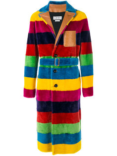 полосатое меховое пальто  Loewe