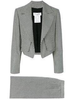 костюм в ломаную клетку с юбкой Christian Dior Vintage