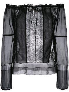 рубашка с открытыми плечами Prada Vintage