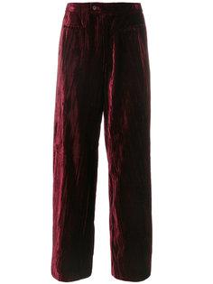 бархатные широкие брюки Yves Saint Laurent Vintage