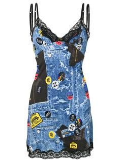 платье-комбинация с принтом Christian Dior Vintage