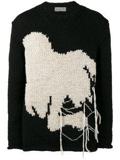 трикотажный джемпер свободного кроя вязки интарсия Yohji Yamamoto