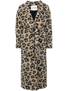 длинное пальто с поясом и гепардовым принтом  Ava Adore